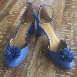 Talbots Isa pom pom block heels with ankle straps